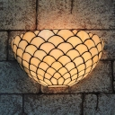 Bowl Shape Living Room Sconce Lamp Glass Tiffany Style Antique Wall Light in Beige