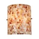 1 Light Half Cylinder Wall Light Mosaic Pattern Shell Sconce Light for Bedroom Restaurant