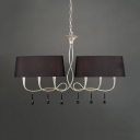 Tapered Shade Living Room Island Light Metal 6 Lights Antique Style Pendant Light in Black/White