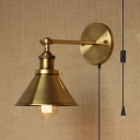 Cone Shape Kitchen Foyer Wall Light Metal 1 Light Vintage Style Plug In Sconce Light in Gold