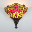 Stained Glass Dragonfly Pattern Sconce Light Living Room Up Lighting Wall Light Sconce Lamp