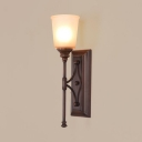 Traditional Up Lighting Wall Sconce 1 Light Glass Metal Sconce Light in Rust for Bathroom Living Room