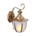 Metal Frosted Glass Wall Light Outdoor Indoor 1 Light Antique Style Lantern Shape Sconce Light in Gold