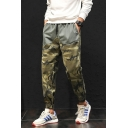 Men's New Stylish Camo Pattern Drawstring Waist Casual Sporty Track Pants with Flap Back Pockets