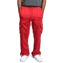 Fashion Simple Plain Drawstring Waist Loose Casual Straight Cargo Trousers for Men