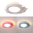 White/Blue/Pink Snail Ceiling Light Cute Round Shape LED Flush Mount Light in Warm for Girl Boy Bedroom