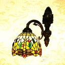 Tiffany Antique Down Light Sconce Stained Glass Metal Dragonfly Pattern Wall Light for Bedroom Hallway