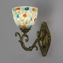 Glass Metal Bell Shade Wall Light Kitchen Bedroom 1 Light Tiffany Style Vintage Light Fixture