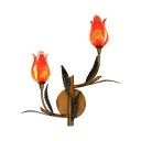 Red Flower Sconce Light 2/3 Lights Rustic Style Glass Metal Wall Lamp for Restaurant Foyer