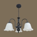 Frosted Glass Metal Chandelier Living Room 3/5 Lights Traditional Hanging Light in Black/White