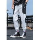 Men's New Stylish Colorblocked Cool Logo Printed Drawstring Waist Elastic-Cuff Loose Track Pants