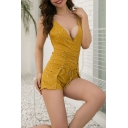 Women's Summer Sexy Plunged V-Neck Sleeveless Slim Fit Ginger Romper