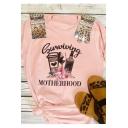 Surviving Motherhood Letter Bottle Floral Print Pink Round Neck Short Sleeve Tee