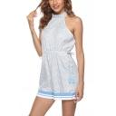 Women's Classic Fashion Polka Dot Printed Halter Neck Backless Drawstring Waist Blue Holiday Beach Romper
