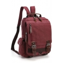 Retro Trendy Plain Canvas Backpack with Zippers 23*8*31 CM