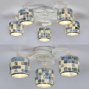 Blue Drum Semi Ceiling Mount Ceiling Light 3/5 Lights Tiffany Style Glass Light Fixture for Living Room
