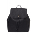 New Trendy Solid Color Soft Leather Black Drawstring Casual Backpack 22*10*26 CM