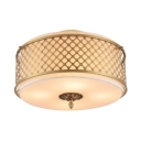 Metal Drum Flush Ceiling Light Restaurant 4/5 Lights Rustic Style Ceiling Lamp in Brass