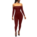 Women's Sexy Off the Shoulder Crisscross Back Long Sleeve Plain Skinny Club Jumpsuits