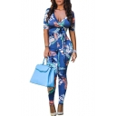 Women's Fashion Floral Printed Sexy V-Neck Short Sleeve Bow-Tied Waist Slim Fit Pants Jumpsuits