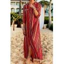 Women's Rainbow Striped Print Long Sleeve Maxi Shirt Dress Beach Dress