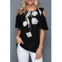 Women's Casual Floral Print Round Neck Cut Out Ruffle Short Sleeve Black T-Shirt