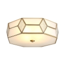Modern White Flush Mount Light 2/3 Lights Glass Polyhedron Ceiling Fixture for Hotel