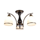 Living Room Bell Semi Ceiling Mount Light 3 Lights Antique Metal Ceiling Lamp in Black/Gold