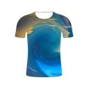 Fancy 3D Blue Whirlpool Sky Printed Basic Round Neck Short Sleeve Tee