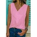 Womens Summer Hot Fashion Simple Plain V-Neck Sleeveless Tank Top