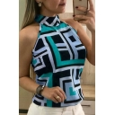 Summer Women's Trendy Geometric Printed Halter Neck Sleeveless Casual Top