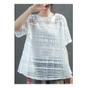 Girls Summer Simple Plain Round Neck Short Sleeve Hollow Out Knit Relaxed Fit T-Shirt