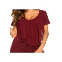 Womens Plus Size Solid Color Round Neck Short Sleeve Chiffon Patchwork Slim Fit T-Shirt