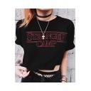 Summer Stylish Simple Letter STRANGER CAMP Print Black Cropped T-Shirt