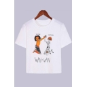 Summer White Funny Figure Letter WIN Print Short Sleeve Graphic Tee