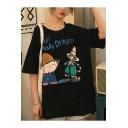 Girls Summer Cartoon Character Letter DRAGON Print Round Neck Oversized T-Shirt