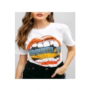 Summer Cool Funny Big Mouth Printed Round Neck Short Sleeve White Relaxed T-Shirt