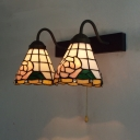 Antique Style Bloom Wall Sconce 2 Lights Stained Glass Wall Light with Pull Chain for Foyer