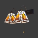 Tiffany Style Boat Sconce Light 2 Lights Stained Glass Wall Light with Pull Chain for Stair
