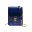 New Fashion Solid Color Sequined Hasp Cross Shoulder Purse 13*5*18 CM