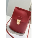 Simple Solid Color Mini Hasp Crossbody Purse with Long Strap 15*8*19 CM
