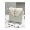 Stylish Color Block Pearl Embellishment Crossbody Pocketbook 17*4*18.5 CM