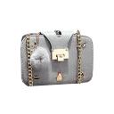 Stylish Retro Badge Decoration Long Chain Strap Crossbody Bag 9*14*20 CM