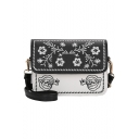 Stylish Color Block Floral Embroidery Square Crossbody Bag for Women 21*7*15 CM
