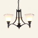 Frosted Glass Bell Shade Chandelier Bedroom 3/6 Lights Simple Style Hanging Light in Black