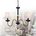 Metal Curved Shade Chandelier Bedroom Living Room 3/5/6/8 Lights Traditional Pendant Light in Black