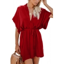 Womens Fashion Solid Color V-Neck Short Sleeve Tied Waist Mini Shirt Dress
