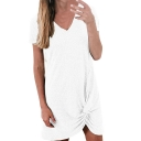 Women's Hot Sale V-Neck Short Sleeve Solid Color Mini Asymmetric Hem Dress