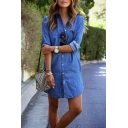 Summer Trendy Blue Plain Printed Collared Long Sleeve Button Front Pockets Detail Mini Shirt Dress