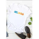 Basic Simple Letter ATLANTA Printed Round Neck Short Sleeve T-Shirt